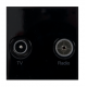 Black Diplexed TV & FM Socket Euro Module Insert
