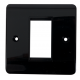 Black 1 Gang Bevel Edge Single Module Euro Grid Outlet Plate
