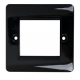 Black 1 Gang Bevel Edge Double Module Euro Grid Outlet Plate